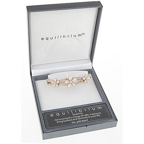 Equilibrium-Braccialetto con pietra di luna, motivo: fiori