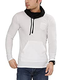 Tees Collection Men's Cotton Full Sleeve White Color Hooded T-Shirt