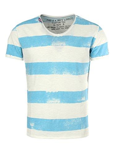 Key Largo Herren T-Shirt AIRLINE Vintage Look Gestreift mit Ziernähten V-Ausschnitt hellblau M