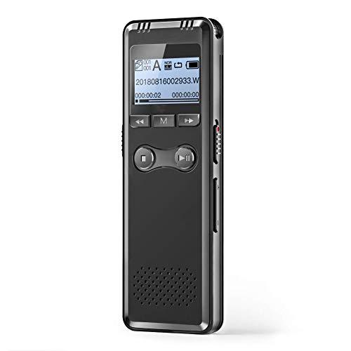 Automatische Bean (BEANZI Digital Voice Recorder, 8 GB, 1536 Kbit/s, Automatische Sprachaktivierung, Rauschunterdrückung, Recorder mit Akku, Digital Audio MP3-Player mit Mikrofon, Geeignet for Besprechung, Vortrag, In)