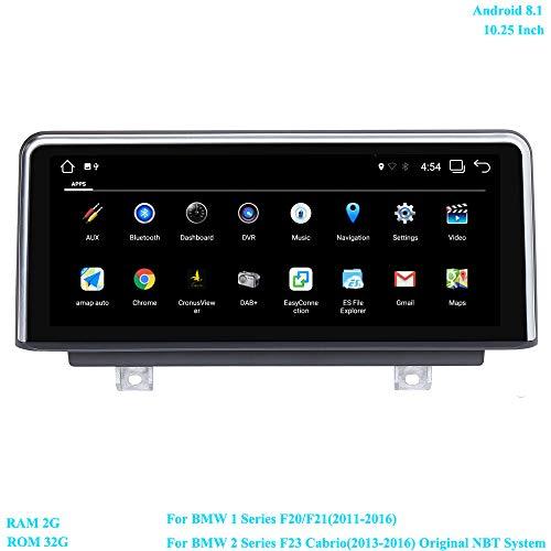 XISEDO 10.25 Zoll Bildschirm Autoradio Android 8.1 RAM 2G ROM 32G 6-Core Radio mit GPS Navigation für BMW 1 Series F20/ F21(2011-2016)/ BMW 2 Series F23 Cabrio(2013-2016) Ursprüngliches NBT System -