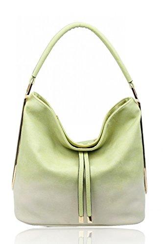 LeahWard Frauen Schultertaschen Nizza Faux Leder Kreuz Körper Tasche Tote Handtaschen CW160931 (Brook Green Hobo Tasche) (Faux Tasche Grün Tote Leder)