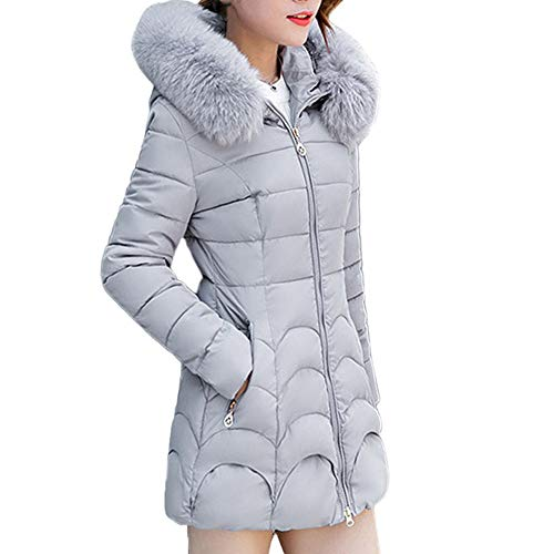 Winter Klassisch Daunenjacke Damen Warme Mantel Frauen Lange Dicke Pelzkragen Baumwolle Parka Slim Jacke FRAUIT Zipper Einfarbig Warm Jumper Top Outwear Bluse (Damen Fell Hooded Down Coat)