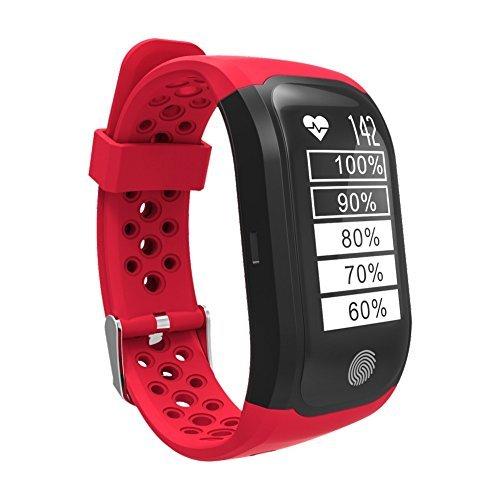 Sport Armband Uhr,elecfan Fitness Tracker mit Pulsmesser,Schlaf Monitor,Schrittzähler GPS Smart Armband ip68 Wasserdicht Schrittzähler Smart Watch  für Männer, Frauen und Kinder - Rot