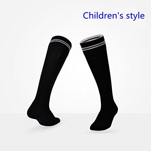 EQLEF® Kids Football Soccer/Rugby/Hockey Sports Socks for Children Age 7-11 years(Black)