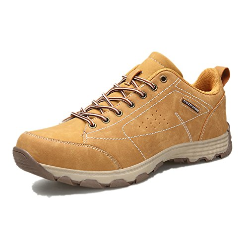 NEOKER Mens Hiking Walking Shoes Trekking Boots Outdoor Sports Low Rise Climbing Sneaker Khaki 43