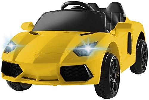 Actionbikes Motors Kinder Elektroauto Super Sport - Ledersitz - Mp3 - USB - SD - 2,4 Ghz Rc Fernbedienung mit Not Stop - Softstart - Elektro Auto für Kinder ab 3 Jahre (Gelb)