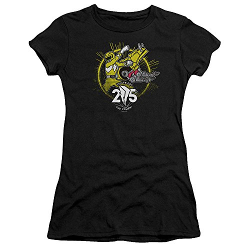 Power Rangers - - Yellow 25 T-Shirt für Junge Frauen, Small, Black (Power Rangers Yellow Ranger Shirt)