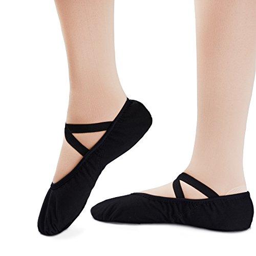 Demi-pointes en toile - bi-semelle en cuir - danse classique - rose Black