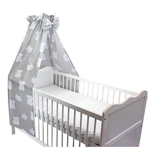 TupTam Babybett Himmel mit Schleifchen, Farbe: Bärchen Weiß, Größe: ca. 160x240 cm