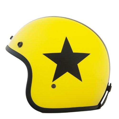 Helm ähnlich wie retro Vespa Helm, Motorradhelm oder Rollerhelm (gelb mit schwarzem Stern); Größe XL (60-62cm)