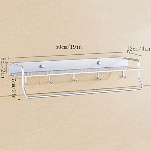 YXN Space Aluminium Badezimmer Regal Single Badezimmer Anhänger mit Haken Metall Anhänger Verdickt Badezimmer Ecke Zubehör Multifunktionale Kombination (Größe : 50 cm) (Große Single-light-anhänger)