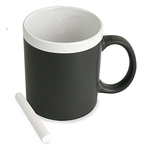 Taza pizarra con tiza. De cerámica apta para microondas. Regalo, mensaje, desayuno.
