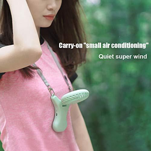 Bomoya Mini Halskette Fan, Tragbarer Ventilator Mini USB Aufladbar Schreibtisch Ventilator, 90 Grad Drehbar Einstellung für Reisen Fischen Camping Outdoor - Rosa