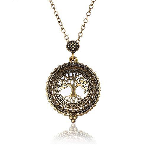 JUZIWEI Antiqued Gold Ton Lesung Lupe Anhänger Halskette mit 5X Vergrößerungsglas für Damen Leselupe schmuckhaft tragbar Lupe
