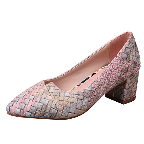 Mee Shoes Damen mehrfarbig chunky heels runde Pumps Pink