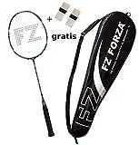 FZ Forza - Badmintonschläger X-Power 86 - Vollgraphit Racket mit Allround Eigenschaften und 86 mehr Kontrolle und Haltbarkeit der Saite - besaitet - blau + 2 Overgrips gratis + Fullsize Racketcover