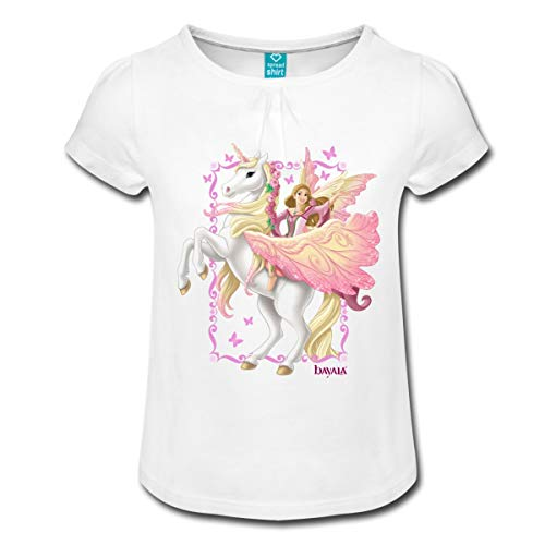 Spreadshirt Schleich Bayala Feya reitet auf Pegasus-Einhorn Mädchen T-Shirt mit Raffungen, 6 Jahre, Weiß (Mädchen Reitet Einhorn)