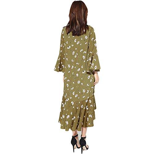 Robe en mousseline à encolure en V robe dégagée robe irrégulière - noir green (yellow)