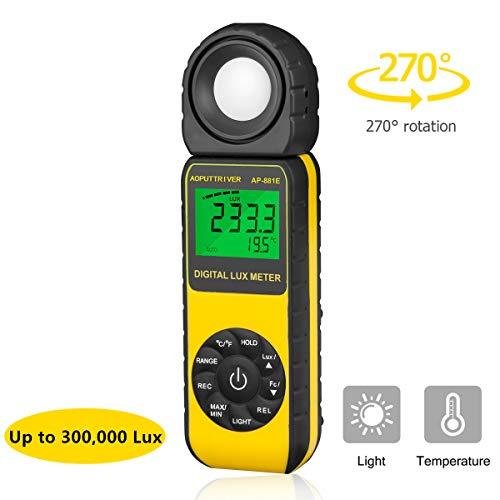 Beleuchtungsmessgerät, Digitale Luxmeter Lichtmessung Photometer 300,000 Lux, Daten halten, schneller Reaktion und LCD Display,Hoher Genauigkeit Tragbare...
