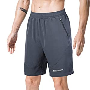 Souke Sports Men's Running Shorts Quick Drying 2 in 1 Shorts Breathable Training Shorts with Zipping Pockets