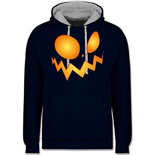 Halloween - Kürbisgesicht groß Pumpkin - Kontrast Hoodie Dunkelblau/Grau meliert