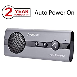 Avantree 10BS AUTO Power ON Hands Free Bluetooth Visor Car Kit with Motion Sensor, Support GPS, Music, Wireless Handsfree in Car Speakerphone, Compatible with iPhone, Samsung Smartphones