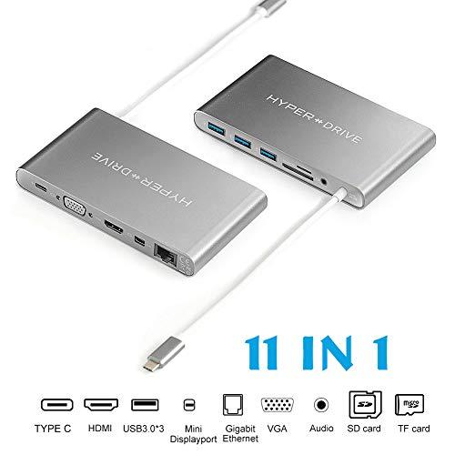 HyperDrive USB C Hub, Typ C Multiport Adapter für MacBook Pro, USBC Laptop PC, Ultimate 11-in-1 Docking Station mit Power Delivery, 5Gbps Type C, 4K HDMI, 3x USB 3.1, VGA, Mini DP, etc(Aluminium Grau) 1x4 Vga-hub