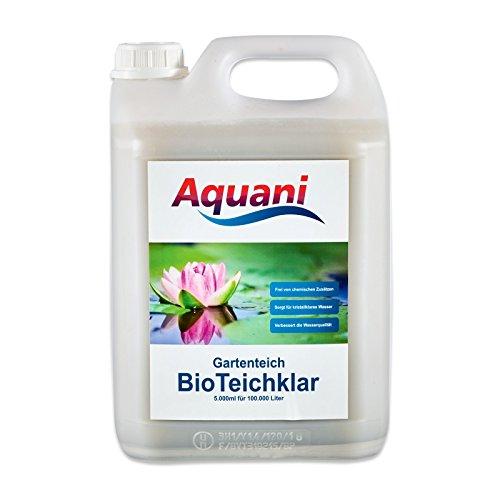 Aquani Bio Teichklar Gartenteich 5.000ml natürlicher Teichklärer für klares Wasser im Teich 100{e904044b3b69c610cdb604f6c2265b4e190a35d366648c5de4fe3fcb5e81b6c4} natürliche Inhaltsstoffe effektive Teichpflege ohne chemische Zusätze ideal für Koi und Schwimmteich