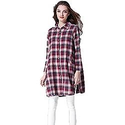 Camisa De Algodón De La Tela Escocesa,Rejilla roja,Un tamaño