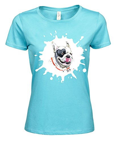 makato Damen T-Shirt Luxury Tee Französische Dogge Aqua