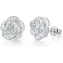 CS Priority Jewelry Ohrstecker Blume hohe Qualität Cherry Blossom Ohrringe Silber vergoldet ideale Geschenk für Frauen Damen