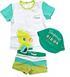 Mayoral Jungen Baby Bade-Set mit Badehose, Bade-T-Shirt & Baby-Cap Tropical, Türkis-Grün, Größe: 74