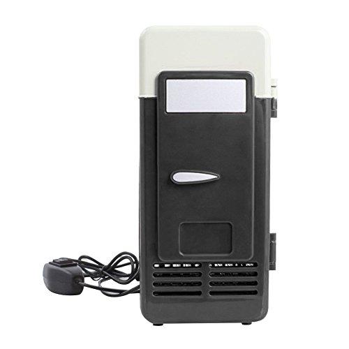 Mini-Kühlschrank für Auto und Steckdose 5V USB Ports Tragbar für 1 Dose Getränk Drinnen Rot/Schwarz (Schwarz)