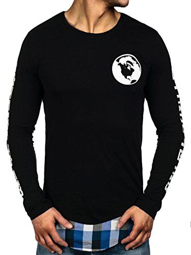 BOLF Herren Longsleeve Sweatshirt Pullover Langarmshirt Pulli Camo 1A1 Motiv Schwarz-Blau
