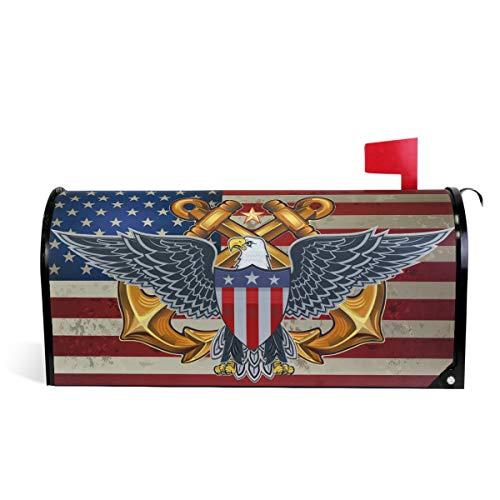 Wamika Briefkasten-Abdeckung, Motiv: amerikanischer Adler mit USA-Flagge, magnetisch, für den 4. Juli, Briefkasten, Garten, Hof, Heimdekoration, für Außenbereich, Standardgröße 52 cm (L) x 46 cm (B)