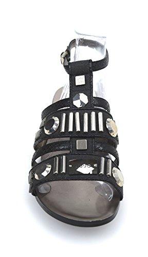 S10067 BLACK NERO PELLE T0300 ART SCARPA ENIA NERO PIATTO JO LIU DONNA SANDALO fZ7nwz