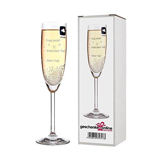 Leonardo Sektglas mit Gratis Gravur - Guter Tag - Schlechter Tag - Frag nicht! - das Stimmungsglas als lustige Geschenkidee Gläser Frauen