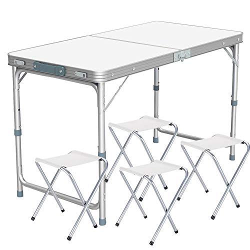 Nestling® alluminio tavolino da pic-nic incl 4 sgabelli tavolo da campeggio altezza regolabile pieghevole formato valigia(120x60x70cm)
