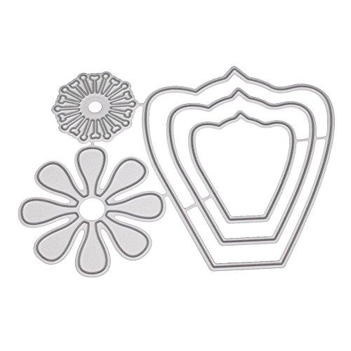 Xmiral Prägeschablonen Scrapbooking Stanzen Schablonen,3D Blume Comic-Muster Hochzeit(L)