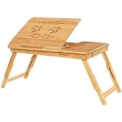 SONGMICS Table pour Ordinateur Portable, Table de lit en Bambou, Ajustable, Plateau inclinable sur 5 Angles, Petit déjeuner au lit, avec Trous d'aération LLD001
