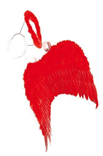 Karneval-Klamotten Flügel und Heiligenschein rot Set Teufel Teufelin