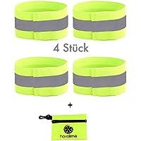 havalime 4X Reflektorband Inkl. Tasche, Reflektierend für Joggen, Laufen, Fahrrad, Kinder, stretchfähig bis 55 cm
