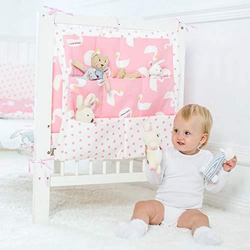 Rosa Tasche Organizer (Babybett Organizer Utensilo Tasche Aufbewahrung Rosa Weiss Schwan Deko Kinderzimmer)