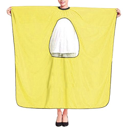 DAYNECETY Hairdressing Cape Gown Salon Barber Haircut Styling Cape Hair Dye Coloring Beauty Shampoo Cloth Kits With Transparent Viewing 120cm*150cm (Yellow)