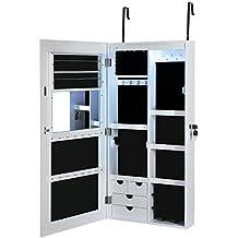 Songmics LED Espejo joyero Armario con espejo grande (sin marco) Colgar a la puerta pared Blanco JBC102W