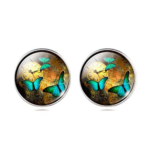 Frauen Jahrgang Uhr Grün Schmetterling Ohrstecker Ohrringe