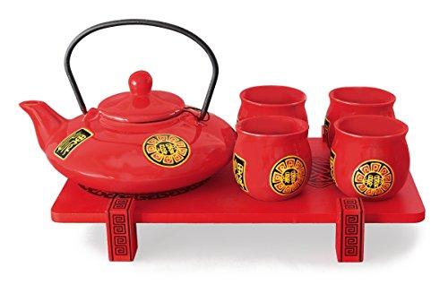 Asiatisches Teeservice 6-teilig rot flach. Teeset mit Kanne (inklusive Filtereinsatz), 4 Cups und Serviertablett.