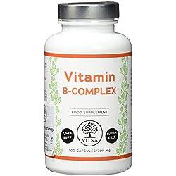 VITNA VITAMIN B-KOMPLEX, 100 Kapseln für eine 100-Tage-Kur, Nahrungsergänzungsmittel: B1, B2, B3, B5, B6, B7, B9, B12, ohne Gentechnik, glutenfrei
