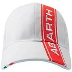 Abarth Rally Fiat blanco con rojo diseño de rayas Logo Cap